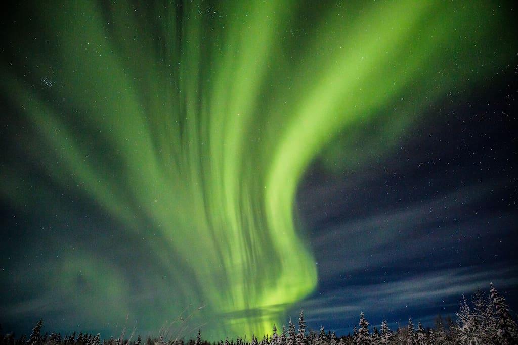 Aurora borealis (photo credit J. Rockwell, Airbnb guest, Dec 2015)