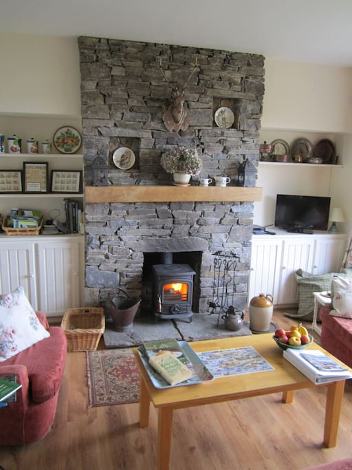 The cosy wood burning stove in the lounge area.