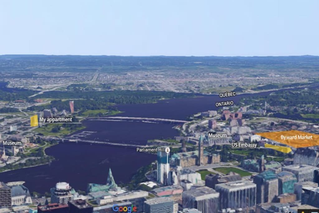 My place is close to downtown,  Parliament, Rideau Canal, Byward Market, OttawaU, Embassy,restaurants, bars are all very close. Tout est à proximité de marche.