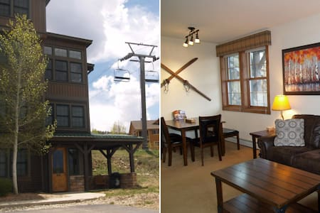 Slopeside Retreat, End unit, Ski off your patio! - Társasház