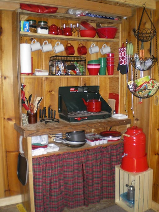 Efficient, well-equipped kitchenette. Tea kettle, wine glasses, cookware & utensils, etc.