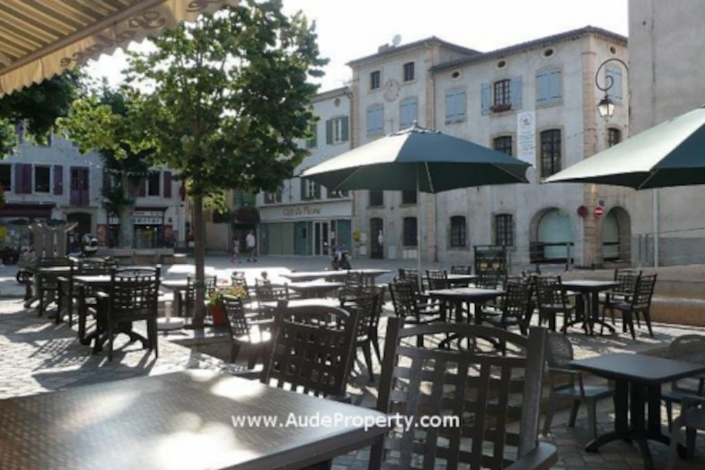 Quillan Old Square. Restaurants Bars and  River Aude