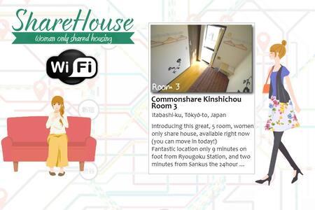 Common Share Kinshichou, Room 3 - Wohnung