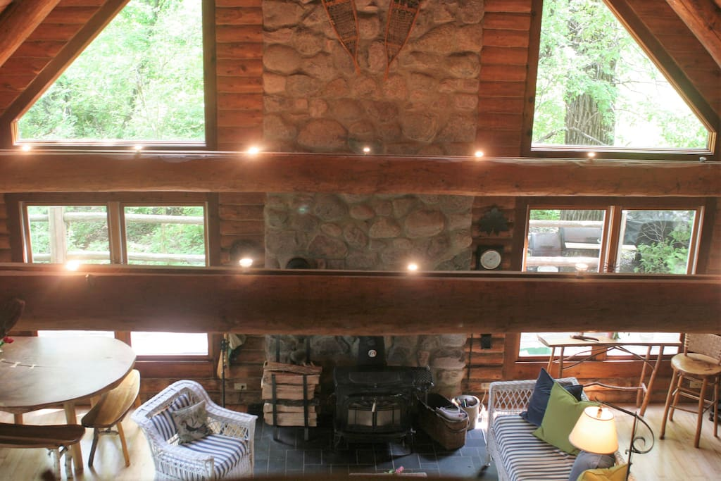 Living/dining area with wood burning stove