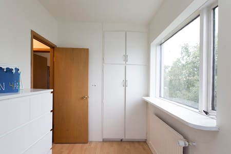 A nice room in a large apartment, kitchen and living room accessible.