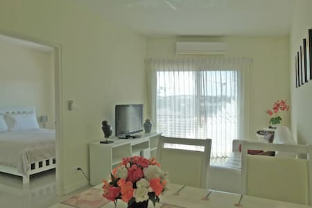 One-Bedroom apartment 44 m2, tastefully furnished, balcony (5th floor). Distance to the beach 500m. Close to Market Village shopping center and Bus Terminal. Separate bedroom (double bed). Bathroom with shower. Kitchenette (Fridge, Microwave etc.)