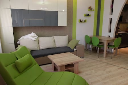 Sofa in a new designer apartment with a pole - Apartment