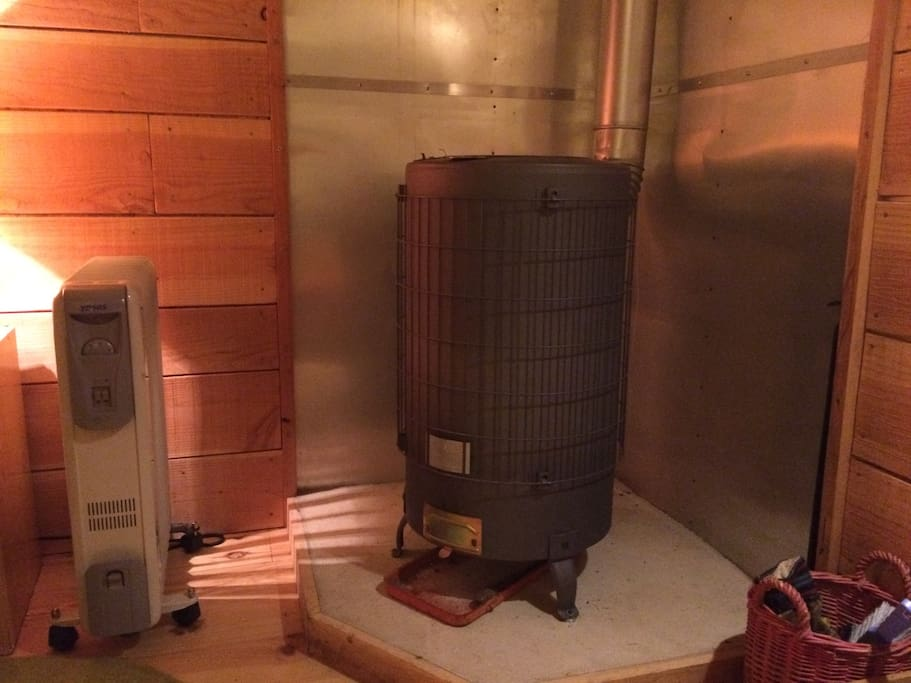 The electric radiator and wood-burning stove
