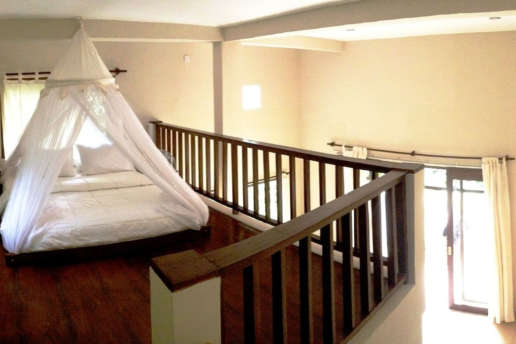 Upstairs bedroom, leaving downstairs for living area