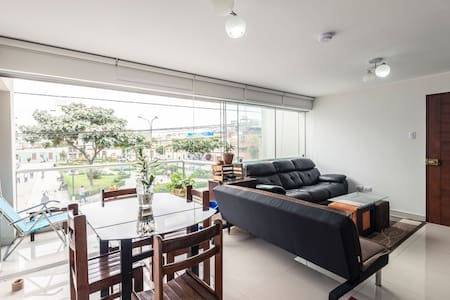 The apartment is modern and beautiful, directly in front of a park in the most beautiful and traditional neighborhood of Barranco. Apartment is full of windows with beautiful balcony. 3 bedroom apartment. The room has a large new bed and desk