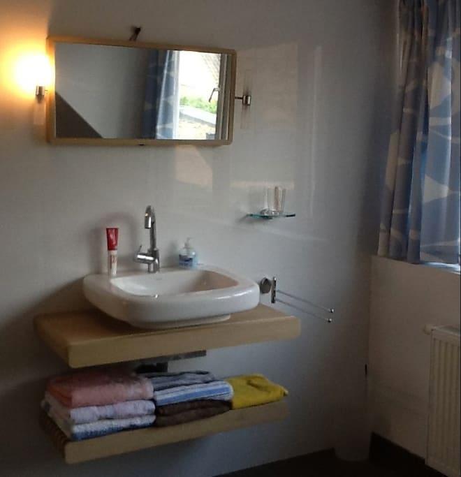 Wastafel gedeelte in de ruimte douche en toilet