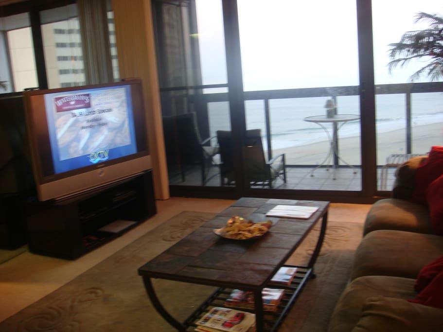 Living room facing beach