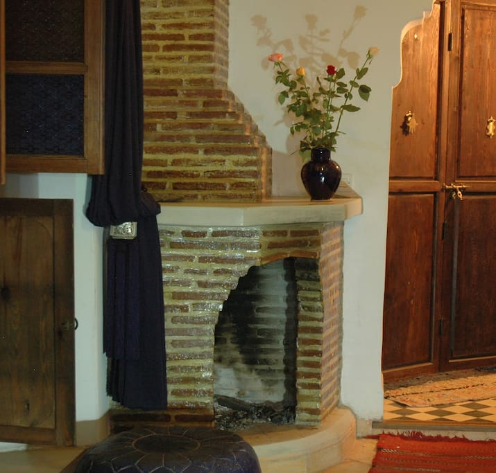 Majorelle blue, fire place and shower room