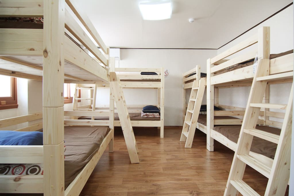 A dorm room. We currently have three male dorm rooms (6 person, 8 person, 11 person), and 2 female dorms (6, 8 person).