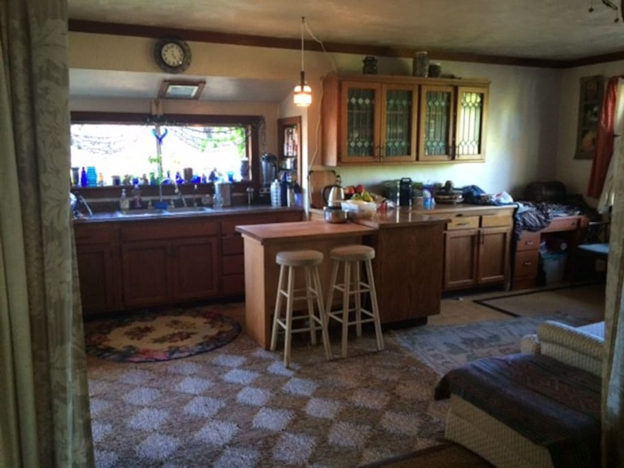 Bright fully loaded kitchen.