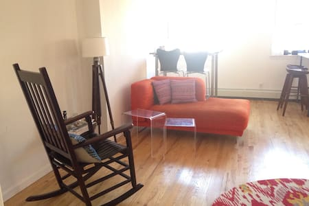 2nd floor, newly renovated 1BR apartment. Clean and airy with sunlight throughout. Separate kitchen, living, and sleeping areas. Bed has memory foam mattress with luxe pillow-top. Decor is simple, minimal.
