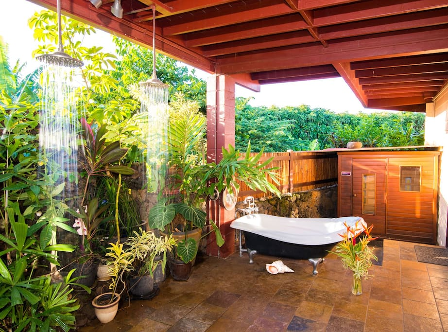 The outside shower, bath and Far-Infrared Sauna.