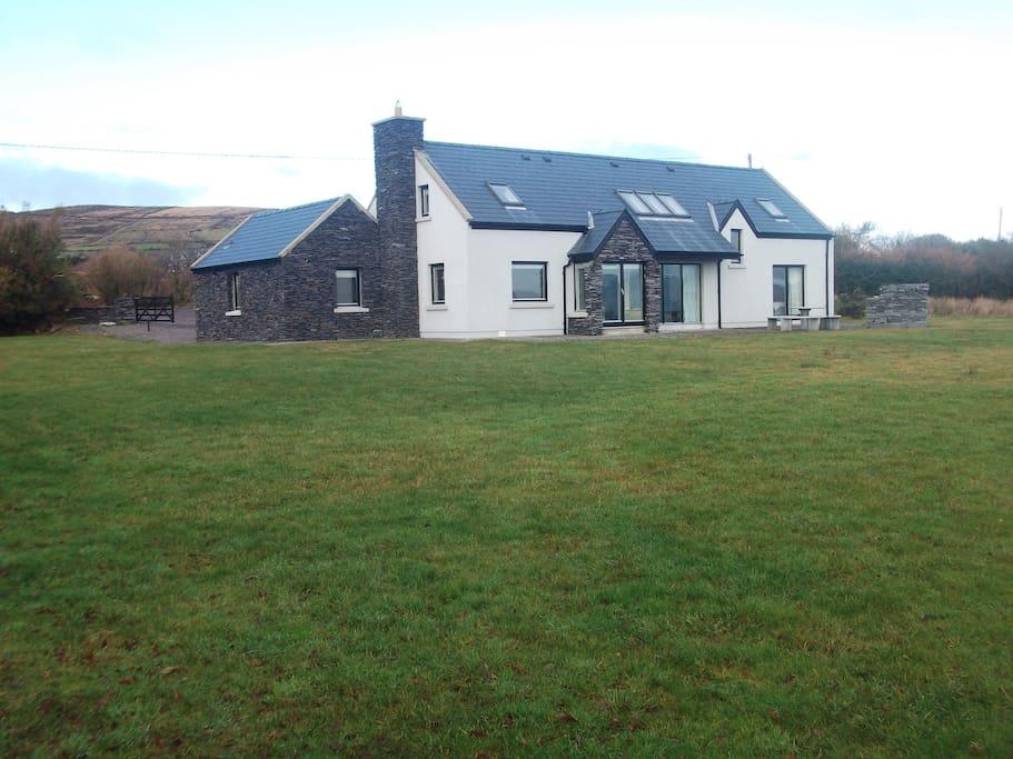 Rear view of Seacrest Cottage.. Set on 2 acres overlooking Ballinskelligs Bay