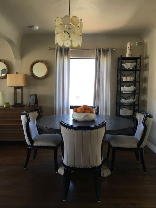 Dining area seats up to 8.