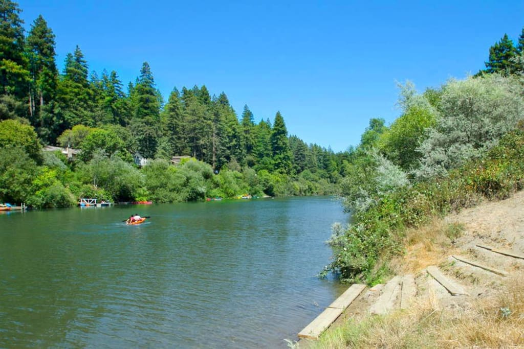 The Russian River is about 70 steps from the cottage..Hop on in..the water is fine!!