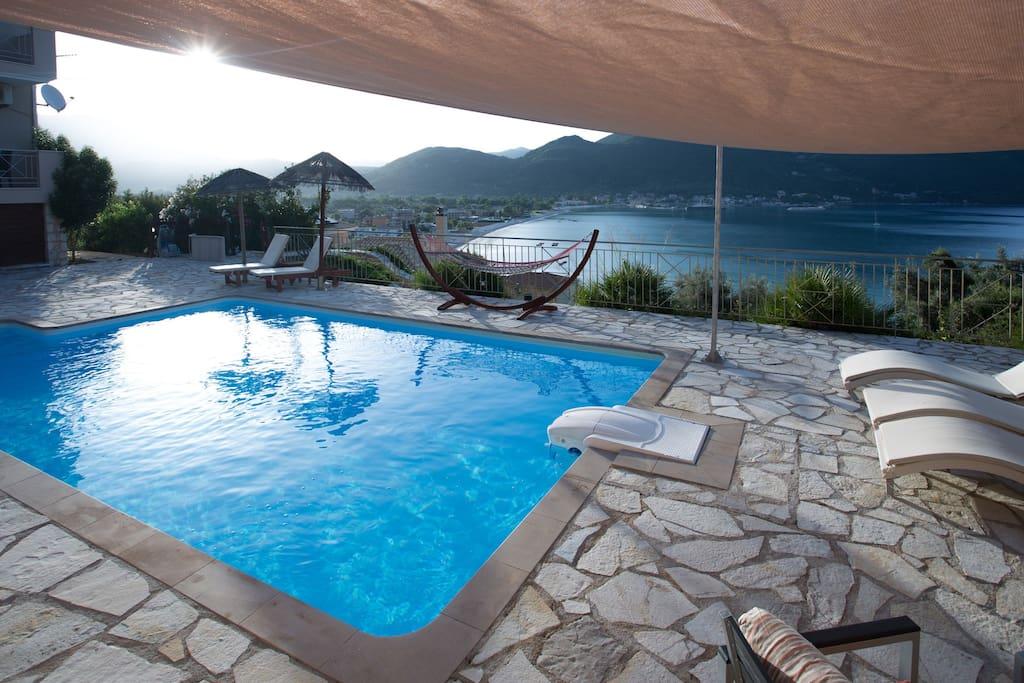 Lefkada Island Villas view from pool