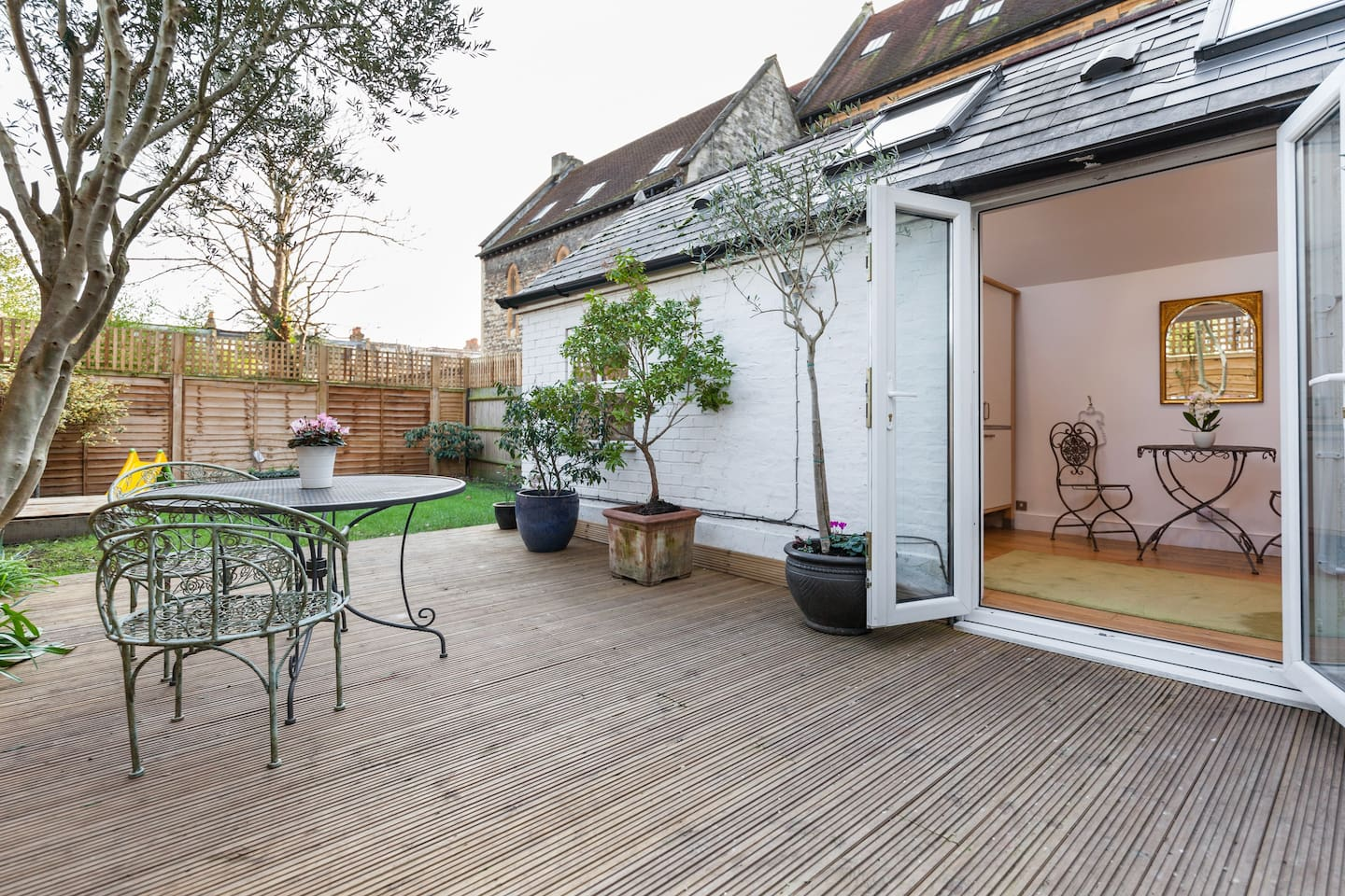 Access to studio is via garden and newly finished decking.