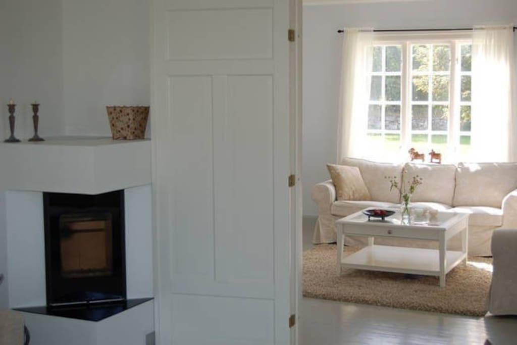 Sofa area, with fireplace