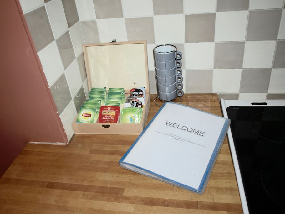 You'll find all you need for tea and coffee as well as a detailed guide of the flat.