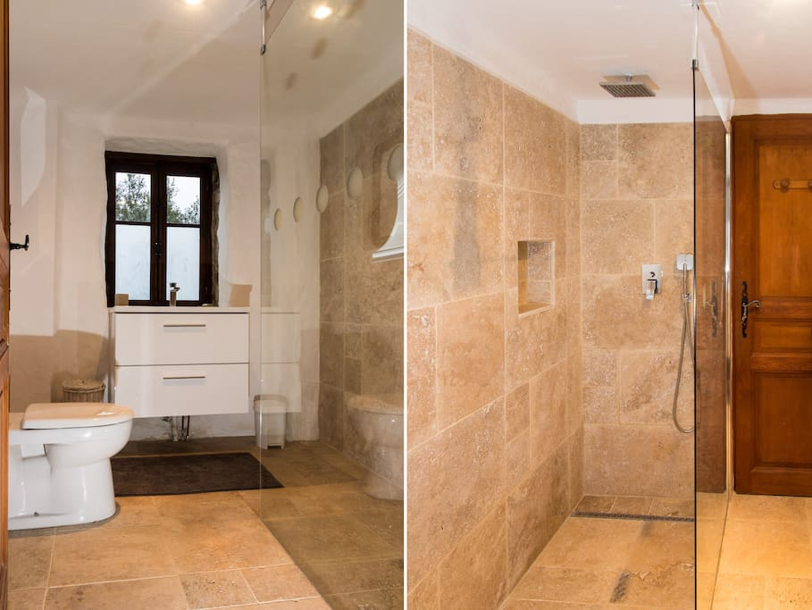 New bathroom with Italian style walk-in shower