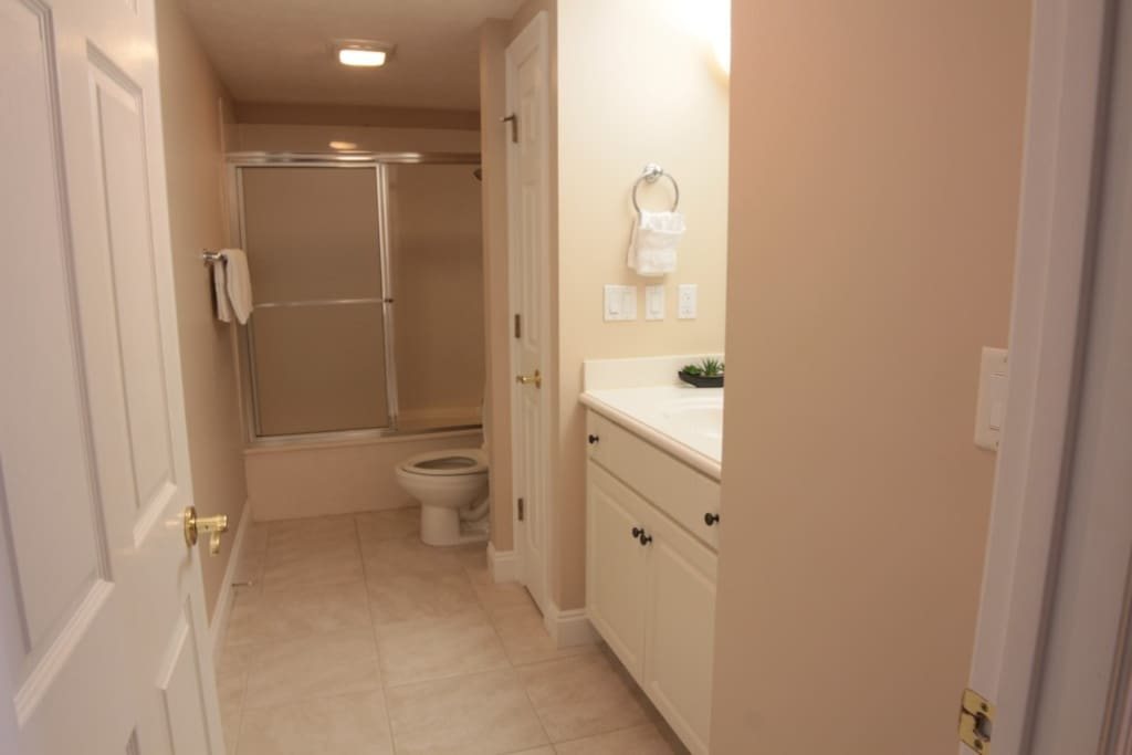 The large guest bath/shower allows for your bathing needs.