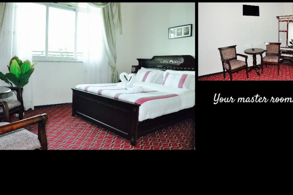 Your master room  (14m2 to 33m2) with en-suite bath & flat screen TV, $63/night inc tax ($10/night per additional guest).