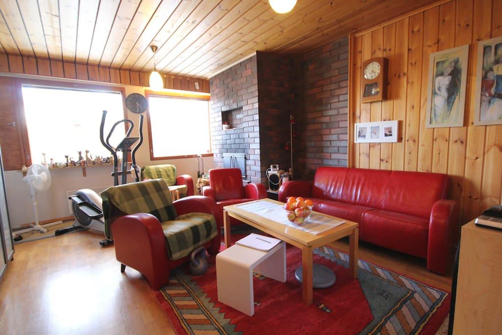 Olohuone, jossa tv, viihdekeskus sekä crosstrainer