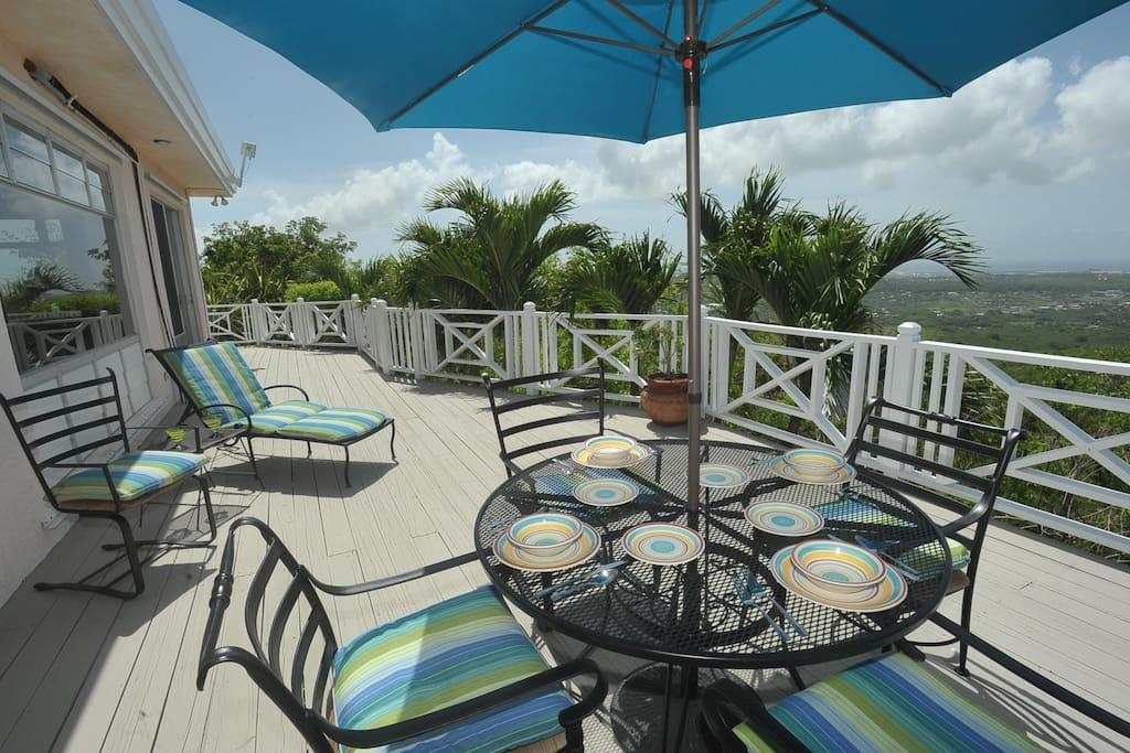 Outdoor dining overlooks the