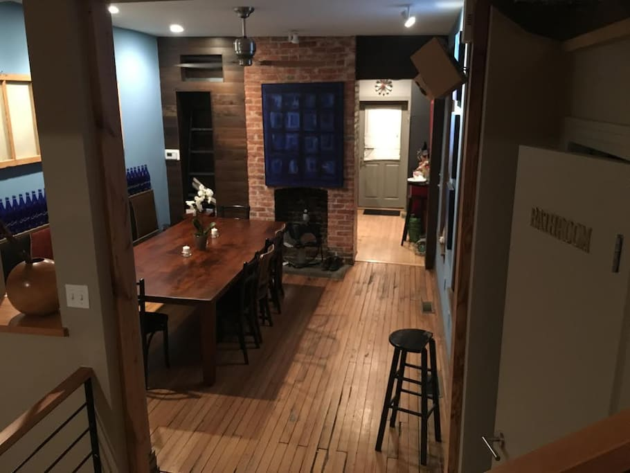 Dining Room, large wood table perfect for working or eating