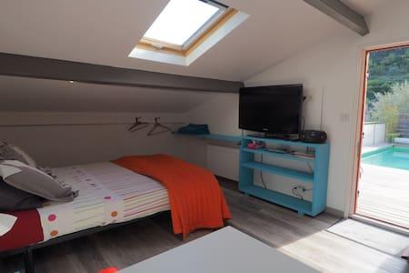 studio indépendant avec jaccuzzi et piscine - Solliès-Toucas - Gæstehus