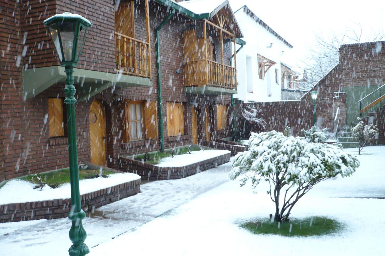 Imagen del patio interno en invierno.