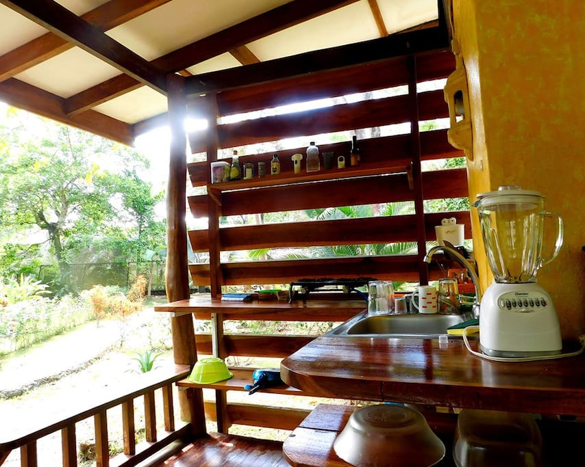 The open-air kitchen with blender, coffee machine, toaster - everything you need