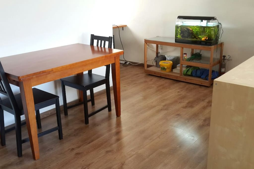 Eating table with fish tank