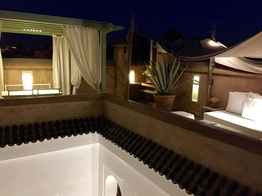 Our terrace at night: new lighting provides the ideal environment for dinners and relaxing, reading or simply basking in the warmth of Marrakech