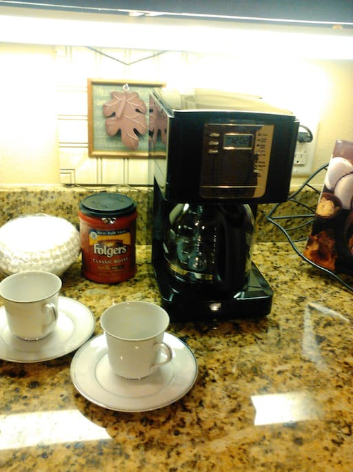 Coffee Center  Close to bedrooms.