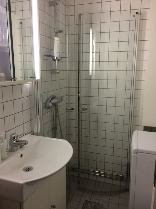 Bathroom with new shower and washing machine.