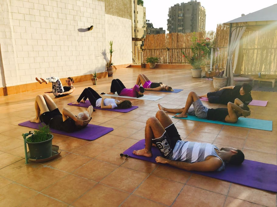 Pilates session on the rooftop