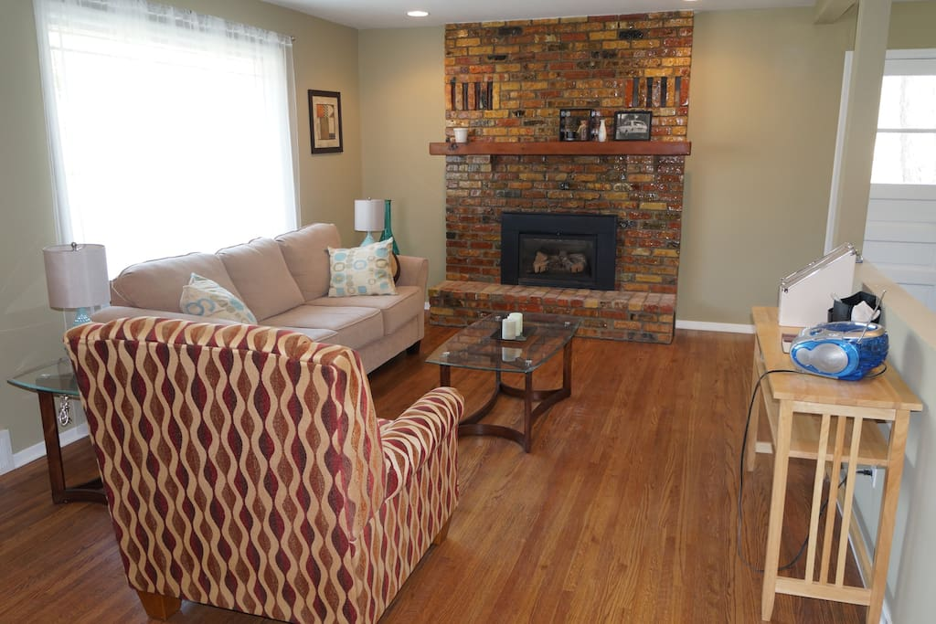 Warm welcoming living room.  One of 3 gathering places in the home.