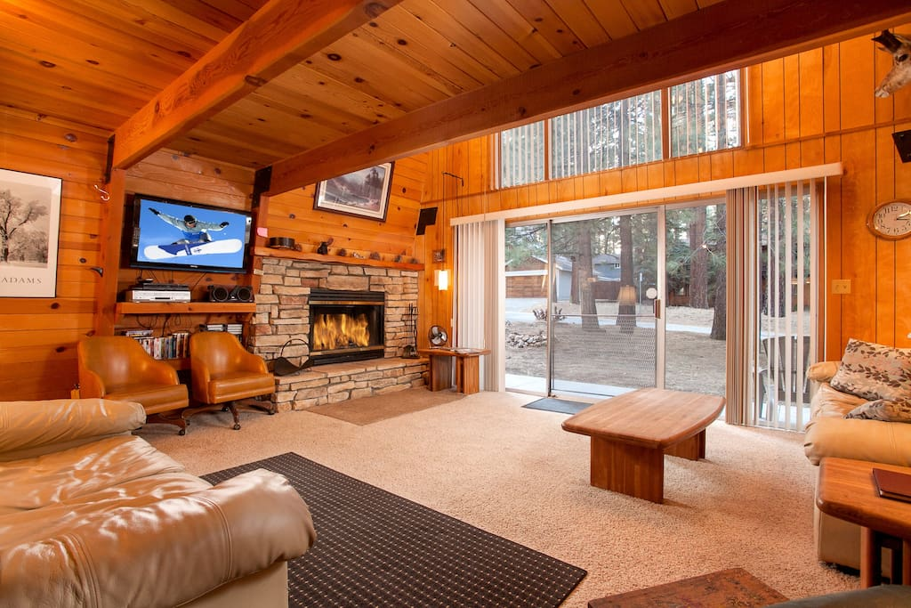 Open Living Area with Flat Screen TV and Log Fireplace. Floor to Ceiling Windows bring in natural light.