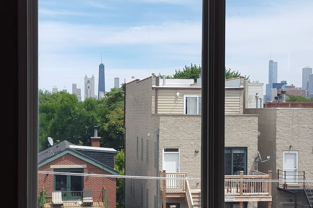 Skyline views from 2nd floor loft!