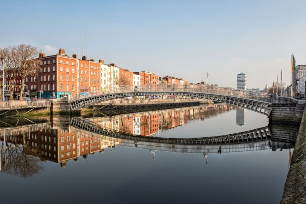 The happenny Bridge and the apartment building to the left. My apartment is second floor above the Turquise building with 2 windows overlooking the trees and 3 windows overlooking the River Liffey and Bridge