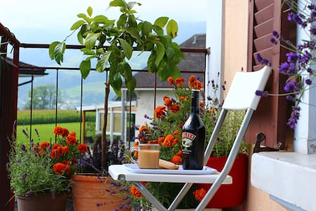 Sunny double room with balcony in Bulle Gruyère - Bulle - Apartment