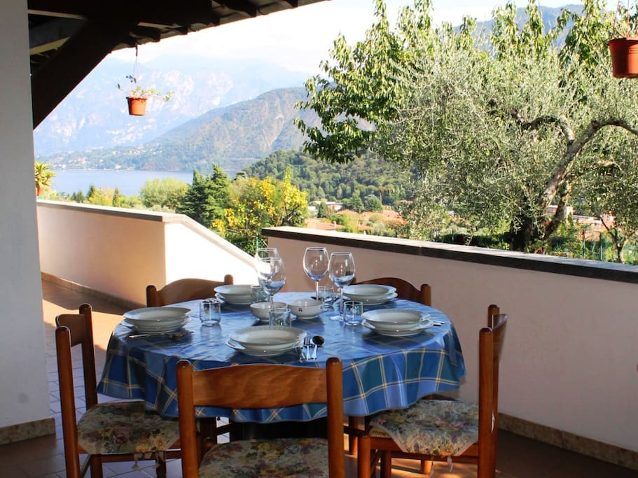 Al-fresco Dining on the Terrace with views to the Lake