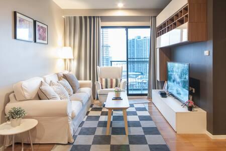 BIG!! Cozy Quiet Room near BTS Onnut WIFI Pool GYM - 曼谷 - 公寓