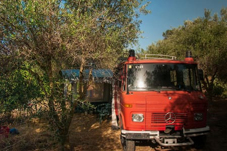 Mountain-view Fire-Engine Campervan in Olive grove - Koufos - Camper
